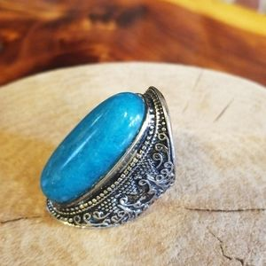 Stunning teal statement ring s 7 aqua jasper